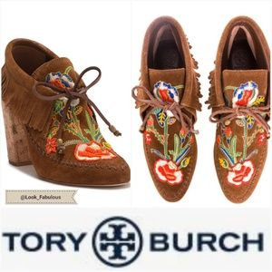 NWT TORY BURCH BROWN HEELED BEADED MOCASSINS
